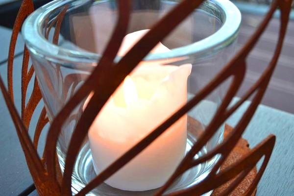 Windlicht Schmetterling Glas Kerze Rost Edelrost T #272
