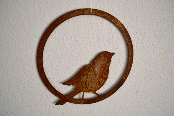Rostdeko Vogel im Ring, flugbereit, zum #528