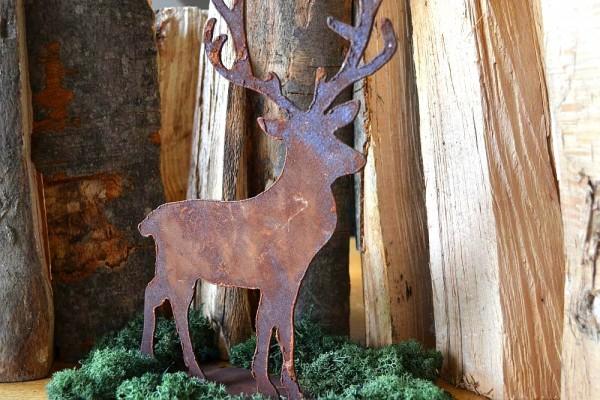 Deko Hirsch auf Metallplatte Waldtier Tier Rost Ed #254